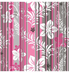floral striped pattern vector image vector image