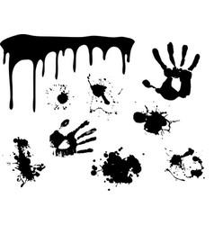 hand print began to flow paint vector image vector image