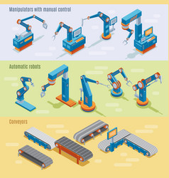 isometric industrial automated factory horizontal vector image vector image
