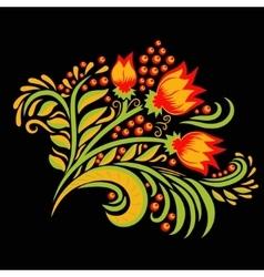 Khokhloma decorated hand-drawn ornament vector image vector image