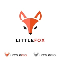 minimalistic red fox head logo in flat vector image vector image