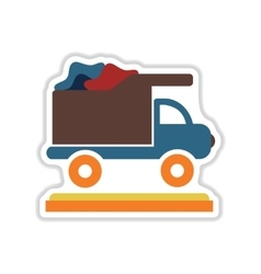 Paper sticker on white background garbage truck vector