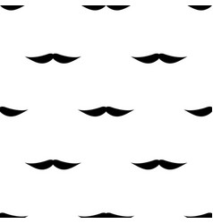 Seamless background mustache on white background vector
