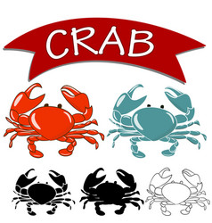 Set of cooked crab and live crab vector