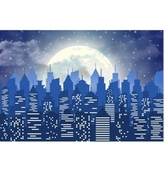 Silhouette of the city with cloudy night sky vector