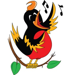 Singing bird cartoon vector
