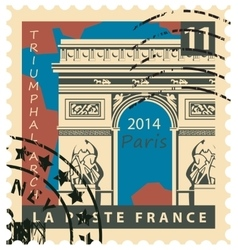 Stamp with paris triumphal arch vector