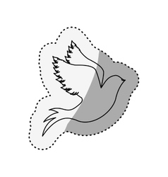 Sticker of silhouette pigeon start to fly vector
