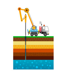 The drilling truck drills a well mining industry vector