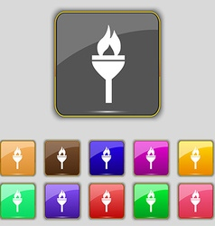 Torch icon sign Set with eleven colored buttons vector image vector image