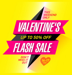 Valentines day flash sale bright banner template vector