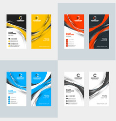 Vertical business card template flat style vector