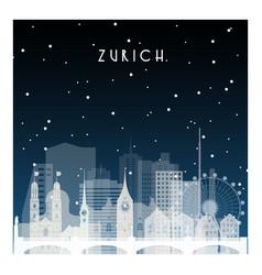 Winter night in zurich night city in flat style vector