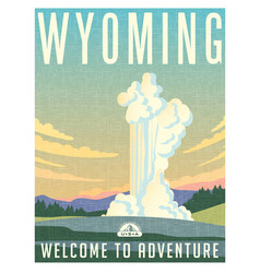 wyoming yellowstone park travel poster vector image vector image