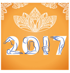 Yoga background with symbol of new year 2017 and vector