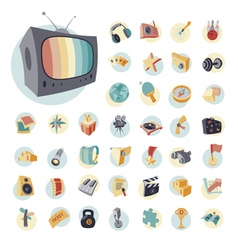 icons vintage set flat for leisure vector image