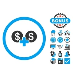 Coins sum flat icon with bonus vector