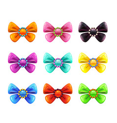 Colorful glossy decorative bows set vector