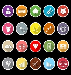 Stock market icons with long shadow vector image
