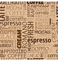 Coffee words tags seamless pattern vector