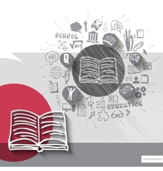 Paper and hand drawn book emblem with icons vector