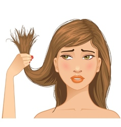 Beautiful sad girl with problem of split ends vector