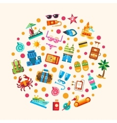 Set of flat design seaside travel vacation icons vector image