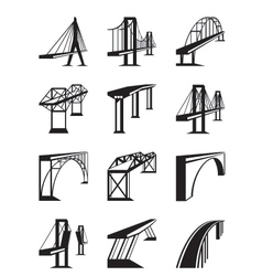 Various types of bridges in perspective vector image