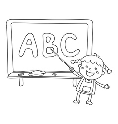 Kids holding giant letters vector