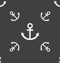 Anchor icon seamless pattern on a gray background vector