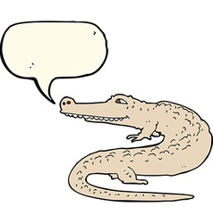 Cartoon alligator with speech bubble vector