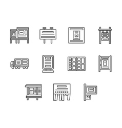 City advertising black line icons set vector