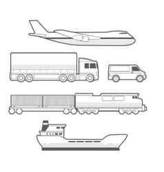 Airplane truck car ship train black and white vector