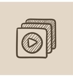 Media player sketch icon vector