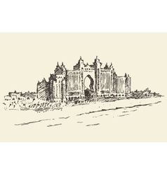 Atlantis palm hotel dubai united emirates drawn vector