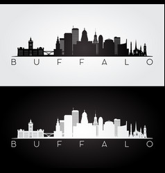 Buffalo usa skyline and landmarks silhouette vector