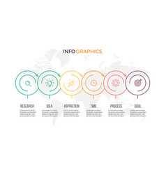 Business infographics presentation with 6 options vector