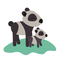 cartoon panda mom with cub over grass in colorful vector image