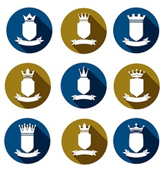 Decorative coat of arms protection theme symbols vector