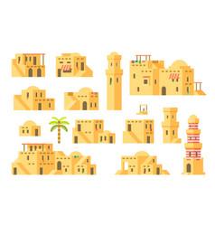 Flat design arab mud houses vector
