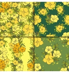 Four seamless floral patterns vector image