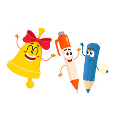 Funny smiling pen pencil bell characters back vector
