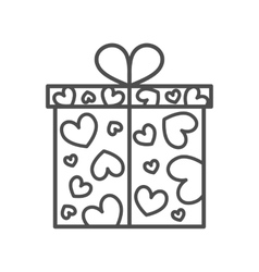Gift box present on valentines day vector
