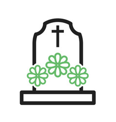 Grave with flowers vector