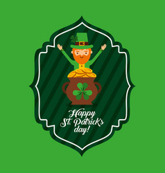 happy st patricks day green label leprechaun and vector image