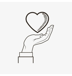 heart and hand line drawing image vector image