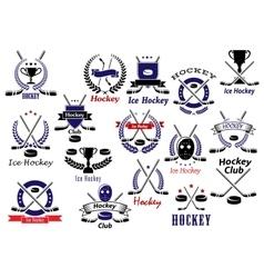 Ice hockey sport game heraldic emblems vector