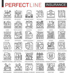 Insurance outline concept symbols health and life vector