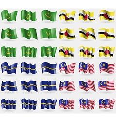 Mauritania brunei nauru malaysia set of 36 flags vector