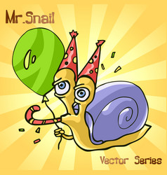 Mr snail with birthday vector